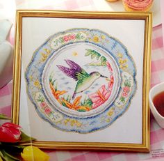 Hummingbird with Decorative Floral Border Cross Stitch Pattern by CrossStitchSusie on Etsy