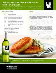 Tartar Sauce, Potato Cakes, White Wine, Cod, Cucumber, Appetizers, Potatoes, Herbs, Cooking