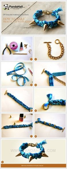 DIY bracelet making instructions-how to make bracelets with ribbon by wanting