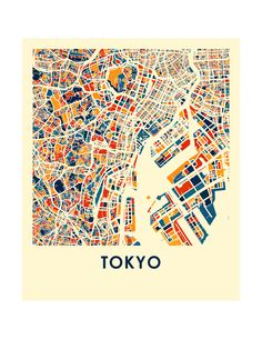 Please consult our holiday schedule to make sure your order arrives on time for the occasion: https://ilikemaps.com/pages/holidays   Our Tokyo map print illustrates the geography and patterns of this great metropolis.  This bold and colorful map print will fit your decor, for home or office.  The Tokyo map is printed in high saturation ink on bright white gloss paper. Print size higher than 13x19 are printed on semi-gloss paper.  The data used to create this map comes from OpenStreetMap and…