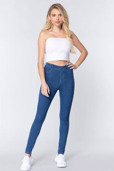 Knit Denim Jeggings   KjSelections Love Jeans, Sexy Jeans, Denim Jeans, Skinny Jeans, Fashion Sale, Knit Fashion, Jeggings, Denim Fabric, Blue Denim