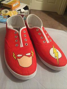 Marvel flash shoes handmade acrylic painted superhero