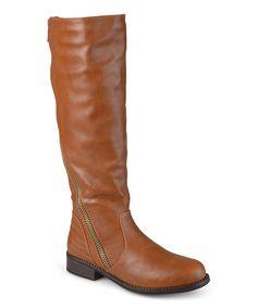 753ca93f226a Chestnut Slant Wide-Calf Boot Low Heel Boots