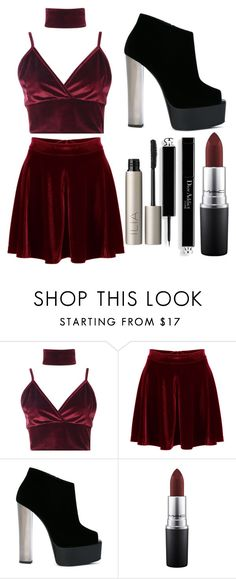 """Untitled #95"" by connorkenway2016 ❤ liked on Polyvore featuring Boohoo, WithChic, Giuseppe Zanotti, MAC Cosmetics and Ilia"