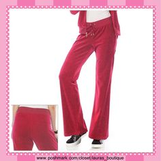 """Juicy Couture Pink Velour Bootcut Pants LAST ONEHPNWT Juicy Couture pink velour bootcut pants give a modern look w/fashionable comfort! Poly/Cotton/Machine Wash.  *L 12-14 *Matching hoodie also available to purchase & bundle! *31 1/2"""" Inseam, Drawstring Elastic Waist *Bundle Discounts, Smoke-Free, No Trades Juicy Couture Pants Track Pants & Joggers"""