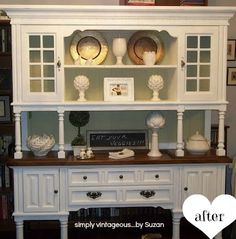 Here's a quick way to transform a dated piece into a country style buffet.