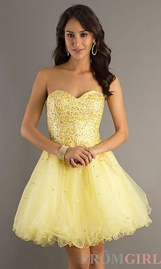 Short Strapless Prom Dress by Dave & Johnny 6916 yellow 90.00