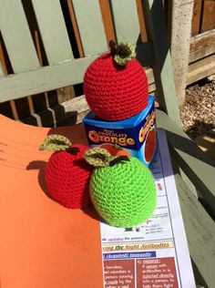 An Apple for Teacher Hand crocheted cover for a Terry's Chocolate Orange.