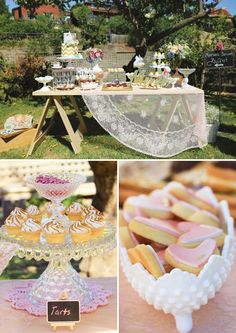 Beautiful outdoor vintage lave dessert table