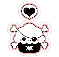 Pirate cupcake sticker