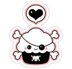 Pirate cupcake sticker
