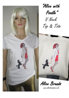 Womens V Neck T-shirt and Tote Bag Package Alice by AliceBrands Fab, Fun Tops, Tees and Totes... http://etsy.com/uk/shop/AliceBrands http://alicebrands.co.uk/Categories/31/Tee+%27N%27+Totes