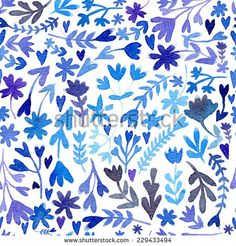 Vector watercolor seamless pattern, floral texture with hand drawing flowers and plants. Floral ornament. Original floral background. Isolated on the white background