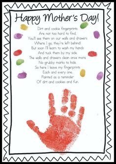 Free Mother's Day Handprint poem. Adorable Handprint Poem. Great for Mother's Day. FREEBIE!!