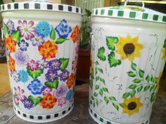 Hand Paintd 20 Gallon Trash Cans  krystasinthepointe.com - ETSY