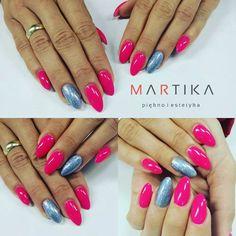 by Marta Rybicka  :) Find more inspiration at www.indigo-nails.com #nailart #nails #indigo #pink #holo #effect #silver #lady #pink