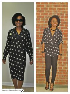 Thrift store refashion: diy shirtdress