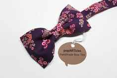 Purple Floral Bow Tie - Men's Pre-Tied Bow Tie in Colorful Eggplant Floral Cotton  - 10% off with promo code PIN10 - #popARTicles #floralbowtie #bowtie #purplewedding #plumwedding