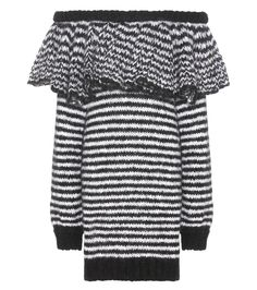 Philosophy Di Lorenzo Serafini - Striped mohair-blend knitted dress - Philosophy Di Lorenzo Serafini's mohair-blend knitted dress is one of the season's most memorable silhouettes. The sensual open-shoulder styling is tempered by a relaxed fit, extra-long sleeves and a thick ruffled trim along the collar. Take a cue from the runway and layer this look over a black mesh top for intriguing textural contrast. seen @ www.mytheresa.com