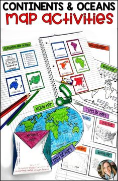 Maps, Continents and Oceans, Landforms, Map Skills Social Studies Projects, Social Studies Classroom, Social Studies Activities, Fun Learning, Learning Activities, Teaching Resources, Teaching Ideas, World Map Continents, Continents And Oceans