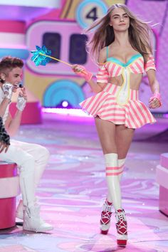 Cara plays it sweet in candy stripes.