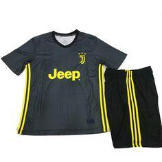Kids Juventus Third Soccer Jersey Kit Children Shirt + Shorts 2018-19 cheap football  kit 0ac42f491