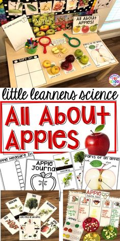 Apple science center with printables, vocabulary cards, anchor charts, science journal pages, read aloud, anchor charts, and a family note. For preschool, pre-k, and kindergarten. #science #preschool #prek