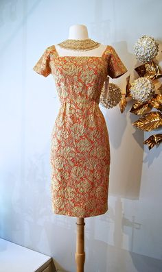 1960s Cocktail Dress / Vintage 60s Metallic Gold by xtabayvintage, $198.00