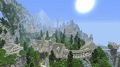 3lotr elven village Rivendell Minecraft creations Minecraft Cool minecraft creations