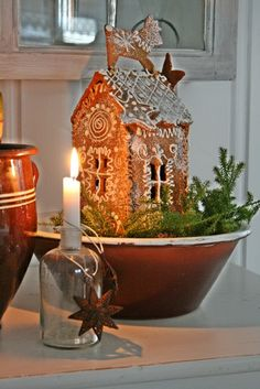 VIBEKE DESIGN, love this small gingerbread house with the reindeer on top Merry Little Christmas, Noel Christmas, Primitive Christmas, Country Christmas, Winter Christmas, All Things Christmas, Christmas Crafts, Christmas Decorations, Holiday Decor