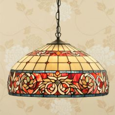 Sipario Large Pendant Formally designed large pendant highlighting floral borders of American Art Glass H:500-1550 W:460 D:460 Bulbs:3 x 60 E27 Fittings:SU02/3 Shade:TV157L