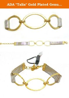 """ADA """"Talia"""" Gold Plated Genuine Leather Fashion Wrap Bracelet With Triple Oval Detail, 7"""". Designer Ada Komorniczak uses her creative eye for fashion and design to create distinctive handcrafted leather pieces. Products are crafted in Argentina by highly skilled professionals who understand quality and create the finest handbags and accessories."""