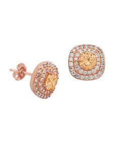 Lord & Taylor Multi-Stone Stud Earrings Women's Rose Gold