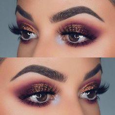 Purple and Bronze Glitter Eye Makeup Idea for Prom Makeup Hacks, Eye Makeup Tips, Makeup Goals, Skin Makeup, Makeup Inspo, Makeup Inspiration, Makeup Ideas, Makeup Tutorials, Makeup Brushes