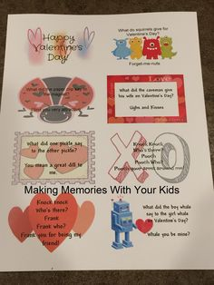 Valentine's Day Lunch Box Joke Notes - Making Memories With Your Kids Lunch Box Notes, Lunch Boxes, Notes Free, Making Memories, Educational Activities, Paper Clip, Happy Valentines Day, Squirrel, Free Printables