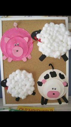 Varken en schaap #knutselen van papieren bord. Paper plate farm