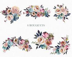 Pierre aquarelle fleurs numérique PNG Clipart Bouquets