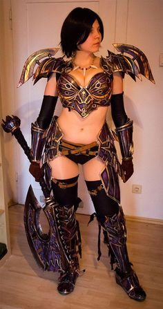 World of Warcraft female armor.  I don't know how protective this armor can be.