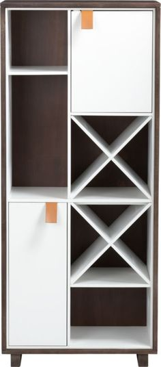 root wine cabinet in storage | CB2    this would be great for storage of yarns and fabrics and misc fibersey things!
