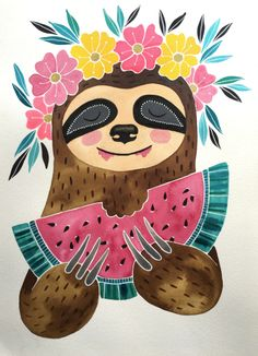 'Watermelon Sloth' by Jessica Leigh Cute Animal Drawings, Cute Drawings, Flower Crown Drawing, Sloth Drawing, Cute Sloth, Animal Wallpaper, My Spirit Animal, Rock Art, Cute Wallpapers