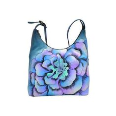 Women's ANNA by Anuschka Hand Painted Large Hobo 8079 - Marigold Denim... ($193) ❤ liked on Polyvore featuring bags, handbags, shoulder bags, hobo shoulder bag, hobo shoulder handbags, blue purse, blue shoulder bag and denim handbags