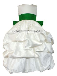ANTIQUE WHITE AND SHAMROCK GREEN FLOWER GIRL DRESSES Style 403 by Pegeen