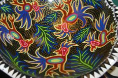 Mola motif bowl, hand painted and signed by Dominique Rice asmatcollection on ebay and Bonanza.com cheetahdmr@aol.com