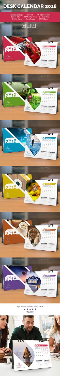 Unique & Modern Calendars Templates, 12 Months   Cover, Very easy to use and customize. 6 Desk Calendar 2018 : 6 color styles : Bl