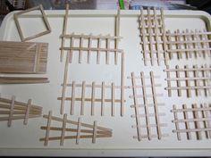 Miniature trellis, door, fence from wooden stirrers