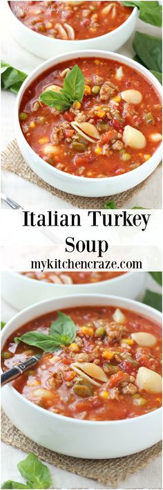 Italian Turkey Soup ~ A hearty and flavorful soup for those chilly nights. Loaded with noodles, cheese, vegetables and turkey. Mulligatawny, Best Soup Recipes, Healthy Recipes, Healthy Soups, Healthy Eating, Orzo, Slow Cooker Turkey Soup, Crockpot, Leftover Turkey Recipes