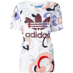 Adidas Originals logo print T-shirt ($62) ❤ liked on Polyvore featuring tops, t-shirts, white, white graphic t shirt, print t shirts, white tee, logo t shirts and short sleeve t shirts