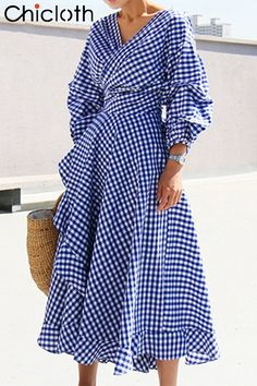 Plaid wrap dress Elegant long lantern sleeve bow belt short dress party summer spring ruffles V-neck dresses vestidos Maxi Dress With Sleeves, Dress Skirt, Wrap Dress, Dress Up, Sheath Dress, Waist Skirt, Casual Dresses, Fashion Dresses, Summer Dresses