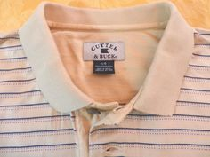 Cutter & Buck men's large yellow with blue stripe golf polo shirt size large, 100% cotton. #CutterBuck #PoloRugby