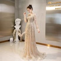 Golden evening dress long sleeve prom dress lace tulle party dress o-neck formal dress drag tail metting dress custom-made prom dress for you Prom Dresses Long With Sleeves, Lace Evening Dresses, Formal Dresses, Dress Long, Elegant Dresses, Custom Made Prom Dress, Beaded Prom Dress, Dress For You, Party Dress
